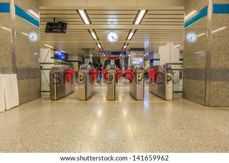 BANGKOK - MAY 19: Electronic ticket gate at Ladprow station on may 19, 2013