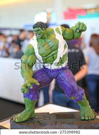 BANGKOK - MAY 1: Hulk model in Thailand Comic Con 2015 on May 1, 2015 Display at Siam Paragon, Bangkok, Thailand. - stock photo