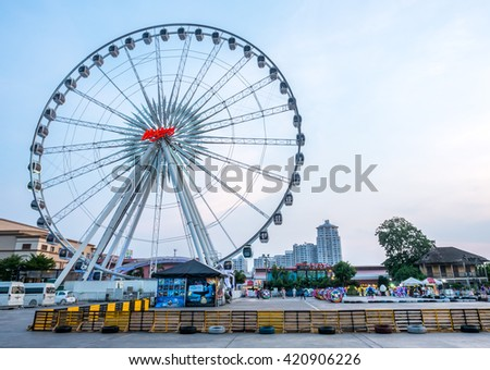 BANGKOK - MAY 14: Large Ferris wheel in Asiatique, open outdoor community shopping mall in Bangkok, Thailand, under dark night sky, on May 14, 2016.