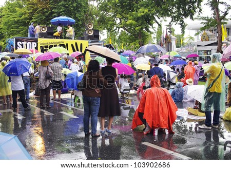 BANGKOK - May 30 :  protesters attend a large anti-government outside Government House on May 30, 2012 in Bangkok, Thailand.