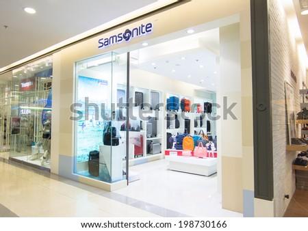BANGKOK - MAY 29: SAMSONITE store at Central Rama 9, Bangkok on May 29, 2014. Samsonite International S.A. is an American multinational luggage manufacturer and retailer. - stock photo