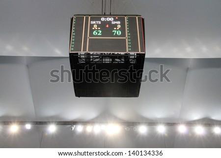 "BANGKOK - MAY 28:The scoreboard of the arena shows the final score of ASEAN Basketball League ""ABL"" between SRTS VS SMB playoffs game3 at Nimitbut Stadium on May 28, 2013 in Bangkok,Thailand. - stock photo"