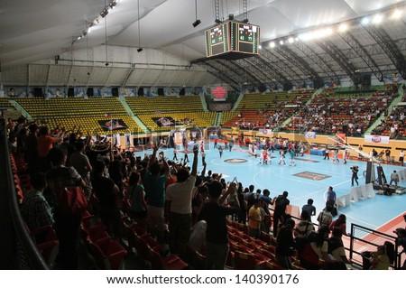 "BANGKOK - MAY 30:The scoreboard of the arena shows the final score of ASEAN Basketball League ""ABL"" between SRTS VS SMB playoffs game4 at Nimitbut Stadium on May 30, 2013 in Bangkok,Thailand. - stock photo"