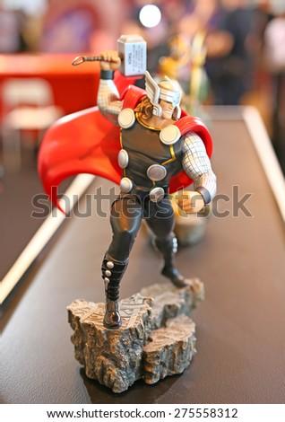 BANGKOK - MAY 1: Thor model in Thailand Comic Con 2015 on May 1, 2015 Display at Siam Paragon, Bangkok, Thailand. - stock photo