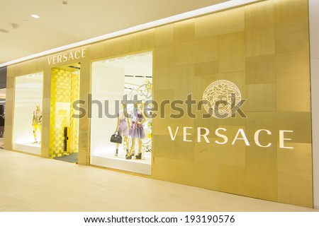 BANGKOK - MAY 13: Versace store at Central Embassy, Bangkok on May 13, 2014. Chanel is the luxury fashion company founded in 1978 has only 82 boutiques worldwide, only in prestigious locations. - stock photo