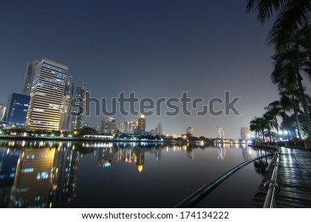 Bangkok night city river front