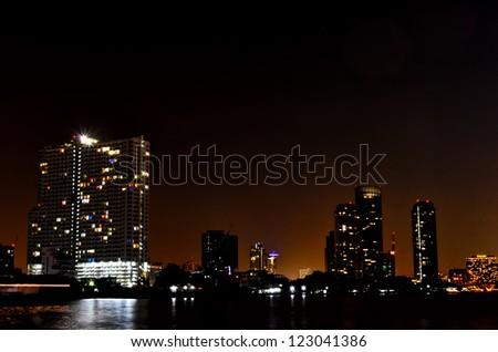 bangkok night river view - stock photo