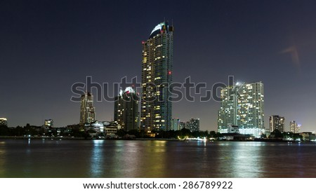 Bangkok night view in the business district. - stock photo
