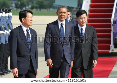 BANGKOK - NOV 18: US President Barack Obama arrives at Don Muang International Airport on the first day of his three-nation Southeast Asia tour on November 18, 2012 in Bangkok, Thailand.