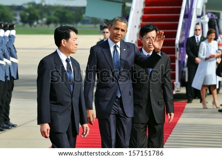 BANGKOK - NOV 18: US President Barack Obama arrives at Don Muang International Airport on the first day of his historic three-nation Southeast Asia tour on Nov 18, 2012 in Bangkok, Thailand. - stock photo