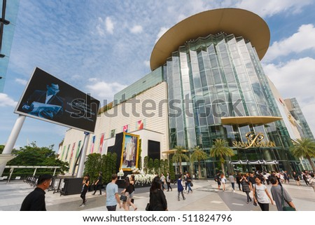 BANGKOK - NOVEMBER 5 : People visit at Siam Paragon on November 5, 2016, it is a shopping mall in Bangkok, Thailand which one of the biggest shopping centres in Asia