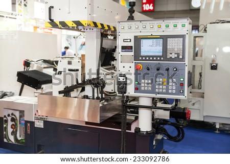 BANGKOK - NOVEMBER 22 :The controler panel of CNC machine   display at METALEX 2014 on Nov 22,2014 in BITEC ,Bangkok,  Thailand. - stock photo