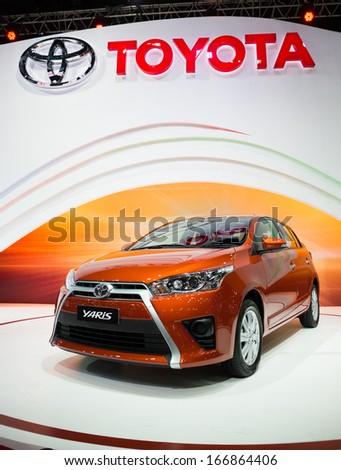 BANGKOK - NOVEMBER 28 : Toyota Yaris on display at The 30th Thailand International Motor Expo 2013 in Bangkok, Thailand. - stock photo