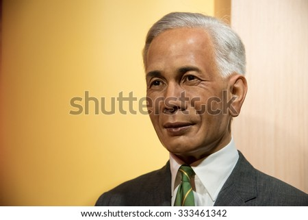 BANGKOK - OCT 28: A waxwork of Field Marshall Plaek on display at Madame Tussauds on October 28, 2015 in Bangkok, Thailand. Madame Tussauds' newest branch hosts waxworks of numerous celebrities.