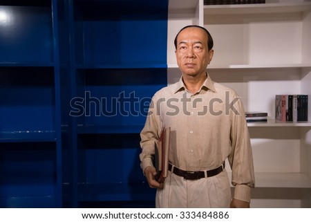 BANGKOK - OCT 28: A waxwork of Luang Vichit Vadakan on display at Madame Tussauds on October 28, 2015 in Bangkok, Thailand. Madame Tussauds' newest branch hosts waxworks of numerous celebrities.