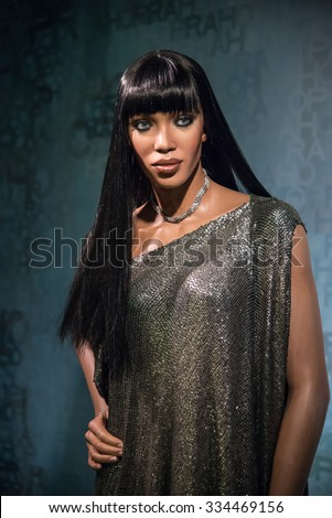 BANGKOK - OCT 28: A waxwork of Naomi Campbell on display at Madame Tussauds on October 28, 2015 in Bangkok, Thailand. Madame Tussauds' newest branch hosts waxworks of numerous stars and celebrities.