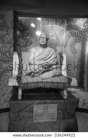 BANGKOK - OCTOBER 28: A waxwork of Buddhadasa Bhikkhu on display at Madame Tussauds on October 28, 2015 in Bangkok, Thailand. Madame Tussauds' newest branch hosts waxworks of numerous celebrities.