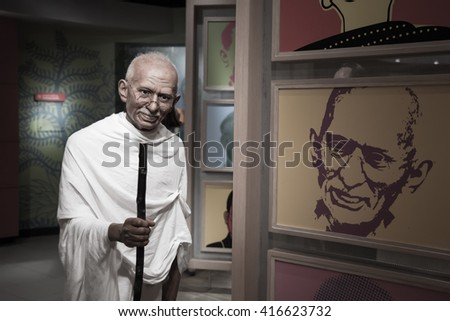 BANGKOK - OCTOBER 28: A waxwork of Mahatma Gandhi on display at Madame Tussauds on October 28, 2015 in Bangkok, Thailand. Madame Tussauds' newest branch hosts waxworks of numerous celebrities.