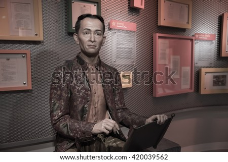 BANGKOK - OCTOBER 28: A waxwork of Sunthorn Phu on display at Madame Tussauds on October 28, 2015 in Bangkok, Thailand. Madame Tussauds' newest branch hosts waxworks of numerous stars and celebrities.