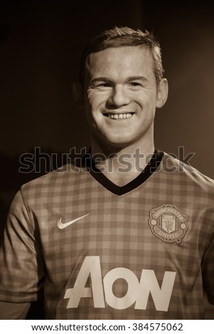 BANGKOK - OCTOBER 28: A waxwork of Wayne Rooney on display at Madame Tussauds on October 28, 2015 in Bangkok, Thailand. Madame Tussauds' newest branch hosts waxworks of numerous stars and celebrities.