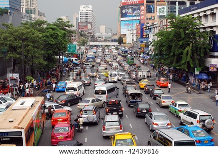 BANGKOK - OCTOBER 9: Daily traffic jam in the afternoon on October 9, 2009 in Bangkok. - stock photo