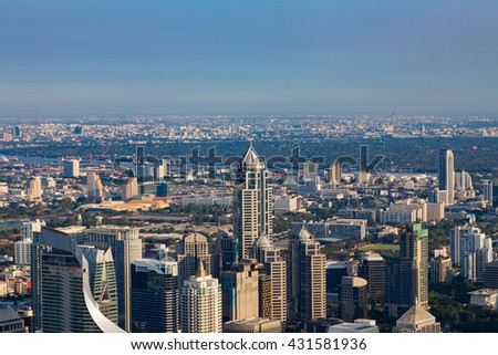 Bangkok office building aerial view, skyline and blue sky background - stock photo