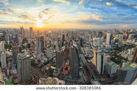 Bangkok panorama, cityscape sunset view - stock photo