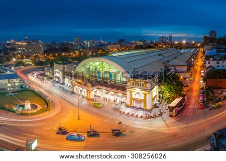 Bangkok Railway Station unofficially known as Hua Lamphong Station in Thailand. It is the main railway station in Bangkok, Thailand. - stock photo