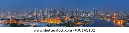 Bangkok sky, Landscape of Thai's king palace with wat Arun and Bangkok night in Bangkok city, Thailand - stock photo