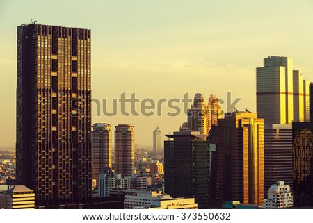 Bangkok sky line before sunset, Bangkok, Thailand. - stock photo