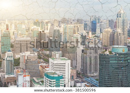 Bangkok skyline Thailand and cracked clay background. Concept Global Warming. - stock photo