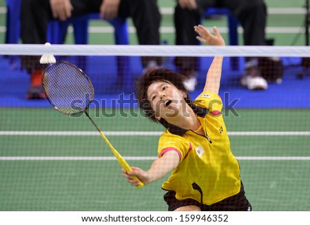 BANGKOK,THA-OCT 25: Nagahara and Miyaura during badminton SCG BWF World Junior Championships 2013 between Japan and Thailand at Indoor national stadium Hun-Mak on October 25, 2013 in Bangkok, Thailand