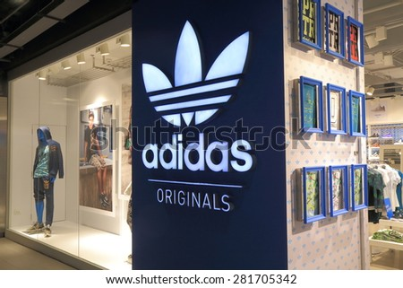 BANGKOK THAILAND - APRIL 19, 2015: Adidas shop at Siam Centre. Adidas is a German corporation that designs footwear and clothing.