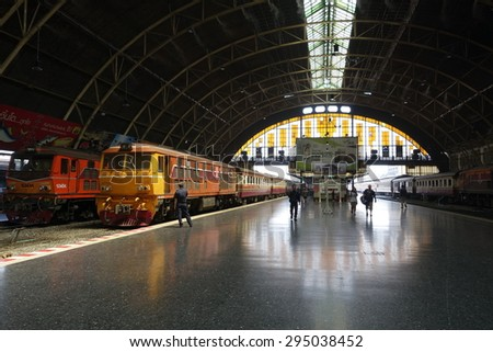 BANGKOK, THAILAND - APRIL 3, 2015:  Bangkok Railway Station (Hua Lamphong) is built in 1916 in an Italian Neo-Renaissance style, with decorated wooden roofs and stained glass windows.  - stock photo