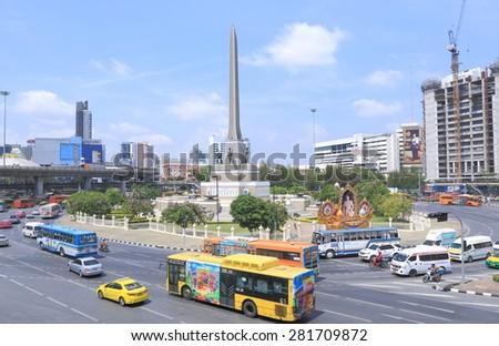 BANGKOK THAILAND - APRIL 19, 2015: Bangkok traffic at Victory monument. Bangkok is famous for its heavy traffic congestion.  - stock photo