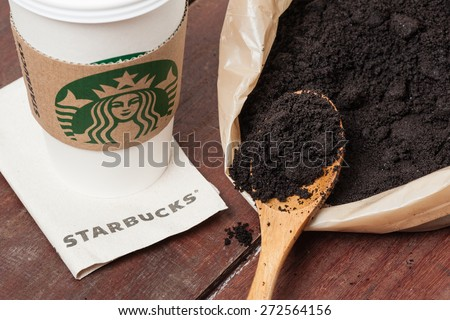 BANGKOK, THAILAND - APRIL 26, 2015: Coffee grounds free offer from Starbucks. Starbucks is the world's largest coffee house. - stock photo