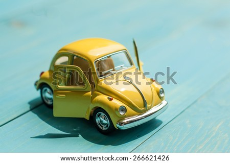 BANGKOK, THAILAND -april 5, 2015: Collectible toy model car Volkswagen Beetle. - stock photo