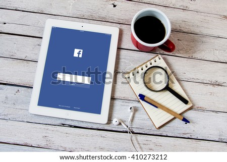 BANGKOK,THAILAND - April 22,2016: Facebook is an online social networking service founded in February 2004 by Mark Zuckerberg with his college roommates  - stock photo