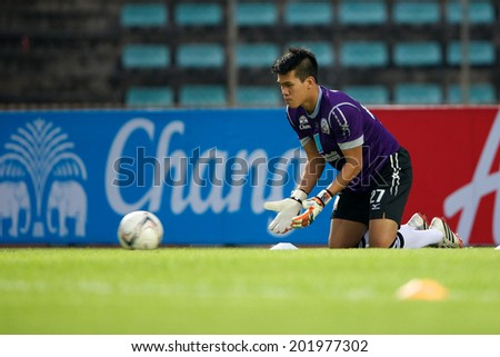 BANGKOK THAILAND-APRIL 05:Goalkeeper Wanlop Sae-Jiu #27 of Police United  in action during Thai Premier League Bangkok United and Police United at Thai-Japanese Stadiumon Apr 05,2014 in Thailand - stock photo