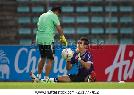 BANGKOK THAILAND-APRIL 05:Goalkeeper Wanlop Sae-Jiu(R)of Police United  in action during Thai Premier League Bangkok United and Police United at Thai-Japanese Stadiumon Apr 05,2014 in Thailand - stock photo