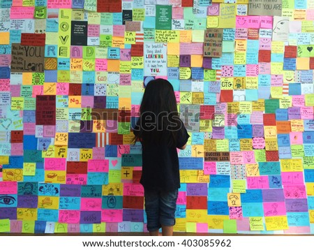 Bangkok,Thailand.1 April 2016 lot of idea note on wall Bangkok,Thailand