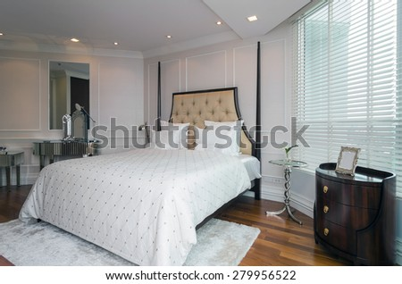 BANGKOK, THAILAND - APRIL 23 :  Luxury Interior bedroom of My resort as river condominium beside the chao phraya river on April 23, 2015 in Bangkok, Thailand - stock photo