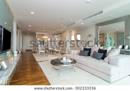 Big Comfortable Living Room White Interior Stock Photo 519924709