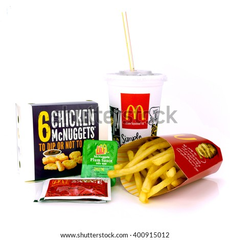 BANGKOK, THAILAND-April 3, 2016: McDonald's snack set. McDonald's Corporation is the world's largest chain of fast food restaurants, serving around 68 million customers daily in 119 countries - stock photo