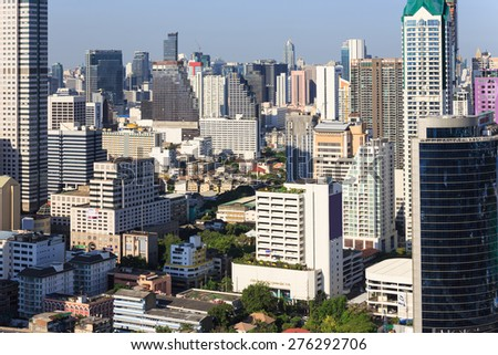 Bangkok, Thailand - April 18, 2015: Sathron in the evening, one of the ...