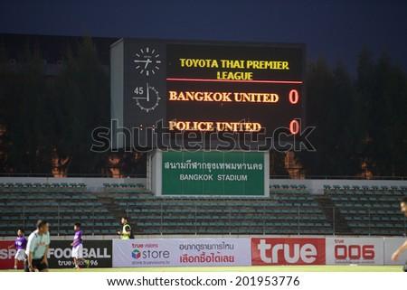 BANGKOK THAILAND-APRIL 05:Show scoreboards of Thai-Japanese Stadium during Thai Premier League Bangkok United and Police United at Thai-Japanese Stadium on Apr 05,2014 in Thailand - stock photo
