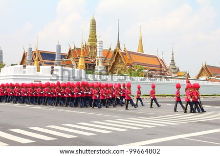 BANGKOK, THAILAND - APRIL 9: Soldiers Parade for the royal of cremation ceremony of royal funeral pyre of HRH Princess Petcharat Ratchasuda in sanam luang on April 9,2012 in Bangkok, Thailand