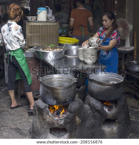 Bangkok, Thailand-April 29th 2014. A street kichen in Chinatown. Bangkok is famous for its street food.