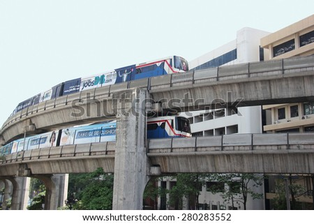 Bangkok, Thailand - April 16, 2015: The Bangkok Mass Transit System , known as BTS or Skytrain, is an elevated rapid transit system in Bangkok. The system consists of 34 stations along two lines.