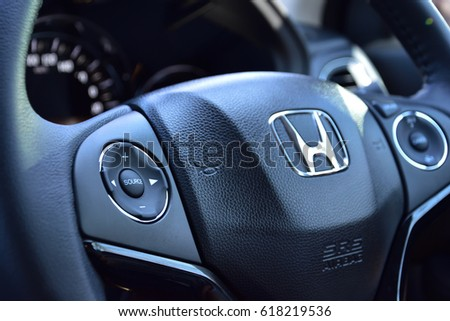 Bangkok, Thailand, April 10, 2017 : View of HONDA steering and meter. Focus on HONDA logo, Black Steering Wheel And Silver, editorial honda hrv